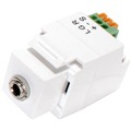 "Eagle Keystone Jack 1/8"" Inch Stereo Mini Plug White 3.5mm Stereo Socket Frequency 47KHz Module Fast Fingertip Insertion 22 24 AWG IR Emitter Insert Jack Plug Wall Plate Module Component, Part # CHO1029W"