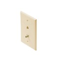 Steren 300-104IV Wall Plate Ivory F-Video Pin Connector Telephone Modular RJ11 Combo TV Phone Ivory Wall Plate 75 Ohm Connector Combination Flush Mount Wall Plate, Part # 300104-IV