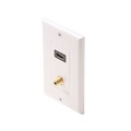 Steren 516-111WH HDMI Wall Plate F Jack Coaxial White Feed Thru Wall Plate with Coaxial F Gold Connector White Plate HDMI Female to HDMI Female, Part # 516111-WH