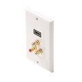 Steren 516-115WH Decorator Style HDMI Feed Thru Wall Plate Composite Combo with 3 RCA Gold Stereo Jacks White Plate HDMI Female to HDMI Female, HD Multi-Media Interface HDTV Applications, Part # 516115-WH