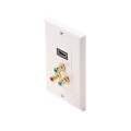 Steren 516-117WH HDMI and Component 3 RCA Wall Plate White Video Faceplate HDMI / Component Feed Thru A/V Decorator Wall Plate HDMI Component Combo Wall Plate, Part # 516117-WH