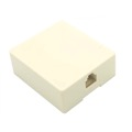 Vanco RJ11 Phone Jack Block 4 Conductor Light Almond Surface Mount Modular Audio Signal Telephone Line Cable Connect Wall Box Plug, Ivory