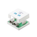 Steren 301-152WH CAT5E 2 Port Surface Jack RJ45 Female to 110 IDC Dual Port White Mount Biscuit Block Modular RJ45 Conductor Category-5e Telephone Data Line Plug Jack, Part # 301152-WH