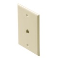 Eagle Telephone Wall Plate Almond Modular RJ11 4-Conductor 6P4C Flush Mount Phone Jack Gold Plated Contacts Jack 1 Socket UL RJ-11 Face Plate Audio Signal Data Line Cord Plug
