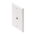 Woods 706W Phone Wall Plate White 1 Pack 6P4C RJ11 RJ-11 Jack Flush Mount 4 Conductor Wire Modular Audio Data Signal Line Plug, Part # Woods 0706W
