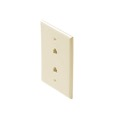 Steren 300-214AL Dual RJ11 Telephone Wall Plate Almond 4-Conductor Modular Flush Face Jack 2 Socket 6P4C RJ-11 Face Plate Duplex Audio Signal Data Line Cord Plug, 2 Outlets, Part # 300214-AL