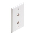 Steren 300-214WH Dual 4-Conductor White Smooth Finish Flush Phone Wall Plate Modular Duplex RJ11 6P4C 4 Wire Conductor Data Line Audio Signal Twin Outlet Connect RJ-11 Jack Plug Cover, Part # 300214-WH