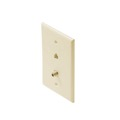 Eagle Almond F-Connector Telephone Wall Plate F-81 Video RJ11 TV Faceplate Gold Plate Jack Phone Modular RJ-11 F81 Coaxial Cable / Phone Combo Flush Mount Modular Wall Plate