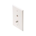 Steren 300-103WH Wall Plate with F-81 Connector Phone Jack White Modular Nickel Connector RJ11 RJ-11 6P4C Coax Combo Twin Flush Mount Telephone Line Jack with AV Outlet, 75 Ohm Coaxial Cable Plug, Part # 300103-WH