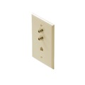 Steren 300-237IV Dual F-81 Telephone Wall Plate Ivory RJ11 TV Faceplate Coaxial Jack 1-Phone 4C Modular RJ-11 Port Combo TV Phone Wall Plate 75 Ohm Connector Combination Flush Mount Wall Plate, Part # 300237-IV