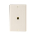 Leviton Decora Ivory Single Phone Wall Plate 6P4C Jack Modular RJ11 C2449-I Duplex Telephone Flush Mount Line Cord Audio Data Signal 1 Outlet, Part # C2449I