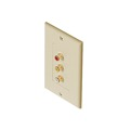 Eagle 3 RCA Jack Wall Plate Ivory Composite Video Stereo Gold Female Flush Mount Video/Stereo/Audio Red Yellow White Single Gang Decorator AV Plug Connect Hook-Up