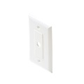 Eagle Decorator Wall Plate White One Hex Hole Single Piece Hex Insert Single Gang Coaxial Pass Through Connector Device Cable Hole 75 Ohm Plug Connector Nylon Flush Mount Cover