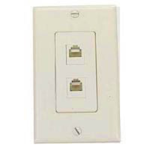 Cool Leviton Dual Phone Wall Jack Plate Ivory Decora Rj11 Modular 6P4C Wiring Digital Resources Funapmognl