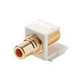 Eagle F to RCA Keystone Jack Insert White Gold Plate RED BAND Connector Barrel RCA to F81 75 Ohm Snap-In Plug QuickPort Coax Cable TV Video Signal Plug Wall Plate Component, Part # 310466-WH