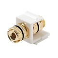 Steren 310-467WH-10 Keystone Single Banana Binding Post Insert 10 Pack Audio Speaker Double Black Band White 5 Way Jack Connector Gold QuickPort Audio Signal Component Snap-In Wall Plate Module, Part # 310467-WH-10