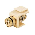 Steren 310-467IV Keystone Single Banana Binding Post Insert Audio Speaker Double Black Band Ivory 5 Way Jack Connector Gold QuickPort Audio Signal Component Snap-In Wall Plate Module, Part # 310467-IV