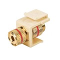 Steren 310-468IV Keystone Single Banana Binding Post Insert Audio Speaker Double Red Band Ivory 5 Way Jack Connector Gold QuickPort Audio Signal Component Snap-In Wall Plate Module, Part # 310468-IV
