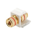 Steren 310-468WH Keystone Single Banana Binding Post Insert Audio Speaker Double Red Band White 5 Way Jack Connector Gold QuickPort Audio Signal Component Snap-In Wall Plate Module, Part # 310468-WH
