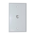 Steren 301-204WH Telephone Wall Plate White Modular 4 Conductor UL Listed 4C 6P4C RJ11 4 Wire Conductor RJ-11 Flush Mount Audio Signal Telephone Line Plug Jack, Part # 301204-WH