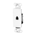 Leviton 40649W White Decora Style RJ11 Insert Face Flush Mount Nylon Telephone DSL Satellite Communication Signal Connection Insert for Decora Opening Covers, Part # 40649-W