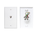 Eagle Wall Plate Telephone Jack White RJ11 6P4C 4 - Conductor Modular Flush Mount Textured RJ-11 1 Pack Data Line Signal
