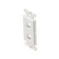 Steren 310-852WH Decorator Style 2 Port Keystone Insert ABS Plastic White Easy Data Junction Component Snap-In Steren Insert, Part # 310852-WH