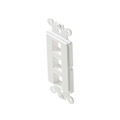 Steren 310-853WH Decorator Style 3 Cavity Keystone Insert White Modular ABS Plastic Easy Data Junction Component Snap-In Steren Insert, Part # 310853-WH