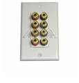 Eagle Speaker Wall Plate 8 Banana Binding Post  4 Speaker White Banana Plug Posts Gold Plate Insert Decorative 4 Pair Port Speaker with White Wall Plate Interface Binding Posts (4 Red, 4 Black)