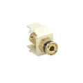 Honeywell Keystone Banana Binding Post Almond with Black Ring Speaker Insert Jack Connector Gold QuickPort Audio Signal Component Snap-In, Plated Wall Plate Module