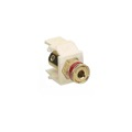 Honeywell Solderless Banana Binding Post Insert Keystone Ivory Jack Red Band Gold Plate Speaker Insert 5 Way Connector QuickPort Audio Signal Component Snap-In Wall Plate Module