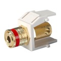 Honeywell Gold Plate Solderless Banana Binding Post Insert Jack Keystone White with Red Band Audio Speaker 5 Way Connector QuickPort Audio Signal Component Snap-In Wall Plate Module