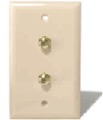 Wall Plate Dual F-81 Duplex White Coax Cable Jack Philips WCV107 Audio Video Digital Antenna Satellite Signal 75 Ohm Port Flush Mount Outlet Cover with Twin Plug Jacks, Part # Gemini WCV-107