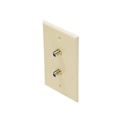 Eagle Wall Plate with Dual F-81 Almond 3 GHz Jack Coaxial Video Signal Outlet High Frequency Connector Satellite Duplex TV Antenna Signal Flush Mount with 75 Ohm Barrel Plug Jacks
