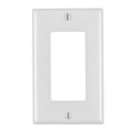 Wall Plate Blank White Leviton Decora High Abuse Nylon Audio Video Signal Outlet Cover with Large Device Component Switch Jack Opening, Part # 80401-W