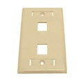 Eagle 2 Port Keystone Wall Plate Ivory ID Tag Slot Multimedia Commercial Grade Dual Cavity Honeywell QuickPort Flush Mount, Easy Audio Video Data Junction Component Snap-In Insert Connection