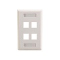 Eagle 4 Port Keystone Wall Plate White Multimedia Label