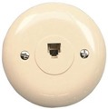 Round Phone Wall Plate Ivory RJ-11 RJ11 Modular Jack Flush Mount Deco Audio Data Line Signal Outlet Plug Connect Cover, Part # RCA TP248, TP-248