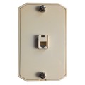 Leviton C2663-I Wall Phone Mounting Plate Ivory Jack Modular Surface 6P6C RJ12 RJ-12 Conductor Surface Audio Data Line Signal Hanger Bracket, Each, Part # C2663I