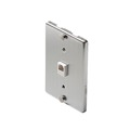 Woods Wall Plate Stainless Steel Telephone Jack Wall Mount Plate Modular 6P4C RJ11 RJ-11 Data Line Audio Signal Surface Face Mount Connect Snap-In Cord Outlet Plug Cover, Part # 964