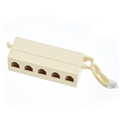 Leviton Modular Phone Junction Block Ivory Up to 4 Extension Phone Line Splitter from One Line Screw Terminal Jack Box Surface Mount 4 Wire Conductor Telephone Terminal, Part # C0218-I