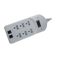 Steren 905-218 6-Outlet Modem Surge Suppressor Power Protector 210 Joules AC UL Listed Power Protector with LED Surge and Wiring Indicator Lights, 6' FT Cord, On/Off Power Switch, Part # 905218