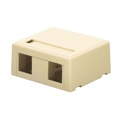 Steren 310-162IV Keystone Jack 2 Port Surface Mount Box Dual Cavity Ivory Jack Block Case QuickPort Biscuit Junction Modular Network Telephone Jack Data Outlet, Part # 310162-IV