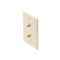 Steren 200-255IV Dual F-Connector Gold Plate Ivory Coaxial Wall Plate Twin 75 Ohm Audio Video Digital Antenna Satellite Signal Duplex Double Port Flush Mount Outlet Cover with Plug Jacks, Part # 200255-IV