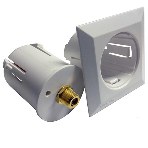 F-Jack Wall Plate Insert White Outlet Jack Plug Insert Adapter Custom Coax  Cable Compact Round A/V Digital Signal 75 Ohm Coaxial Cable System, Part #