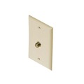 Leviton C5256 Ivory F-81 Wall Plate Single Gang Coax Cable 1 Pack Video Cable 75 Ohm Antenna Outlet Plug Connector Flush Mount Cover, Contractor Pack, Part # C5256I