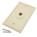 Steren 300-004IV 4 Conductor Wall Jack Plate Ivory Decora Phone Modular RJ11 6P4C Single Port Phone Jack Modular Outlet Flush Mount Audio Data Signal Line Plug Face Telephone Cover, Part # 300004-IV