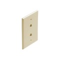 Leviton C2676 Ivory Dual Phone Wall Plate RJ12 6P6C Conductor Modular Jack 2-Port Double RJ-12 Telephone Wire Duplex Flush Mount Data Line Twin Outlet Plug Jack Cover, Part # C2676I