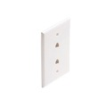 Dual Phone Jack Wall Plate White RJ12 6 Wire Conductor Leviton C2676-W 6P6C 2 Port Decora Duplex Flush Mount Modular Double Data Line Twin Outlet Plug Jack Cover, Part # C2676W