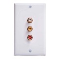 Phillips M62077 3 RCA Jack Wall Plate White Composite Audio Vedeo Stereo 3-Way Gold Signal Line Wire Philips M62077 Flush Mount Outlet Cover with Triple Plugs Hook-Up, Part # M-62077